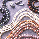 Cultured lake pearls also known as biwa pearls or Sankaku pearls