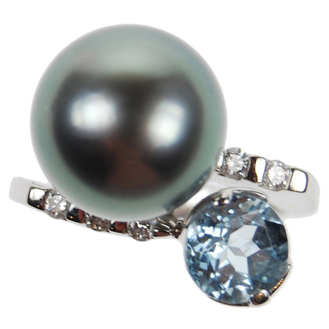South sea pearl ring and semi precious stone