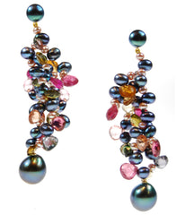 Tahitian pearl and Tourmaline earrigns