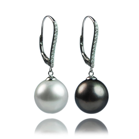 Tahitian and diamond pearl drop earrings