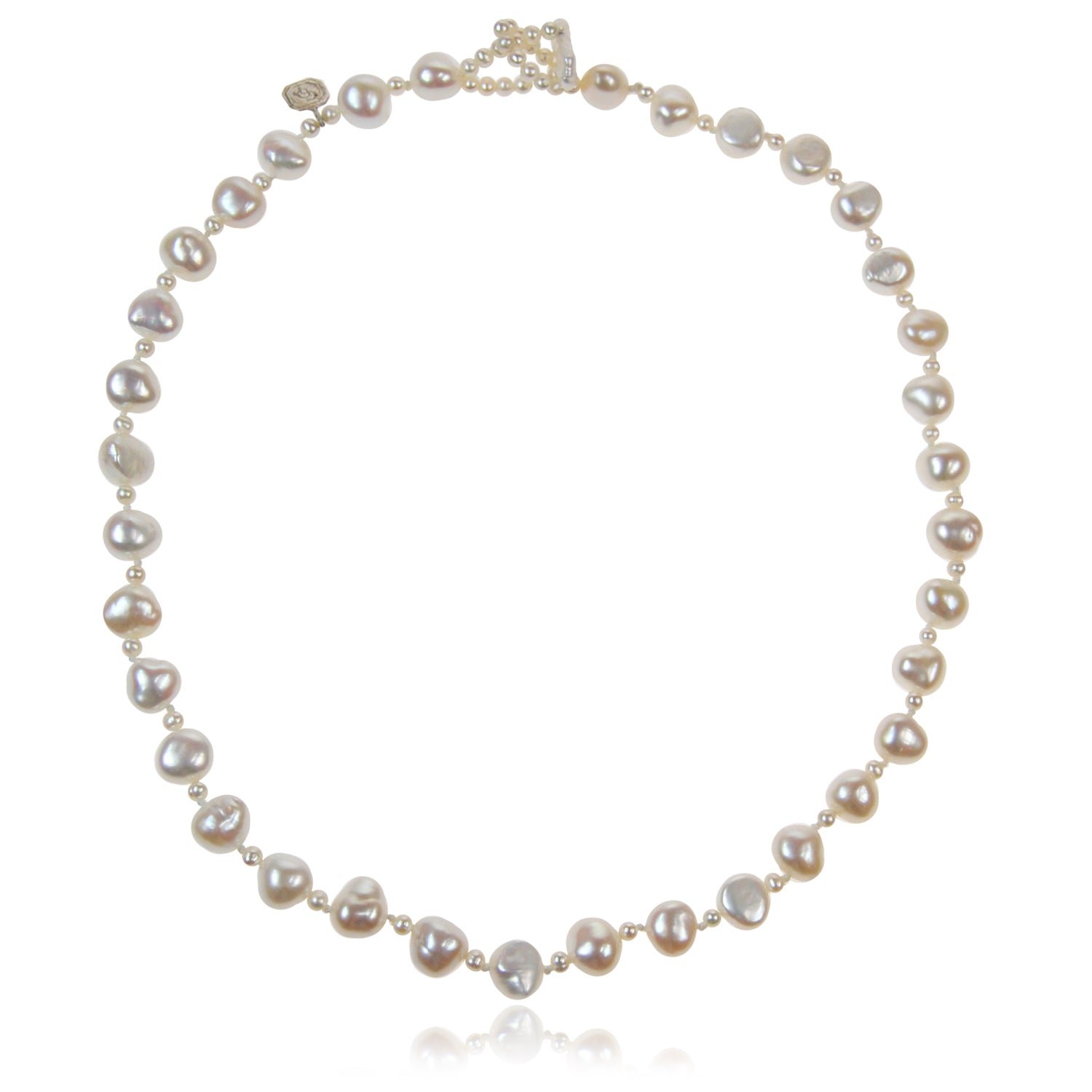 Single Strand Biwa and Seed Pearl Necklace in White