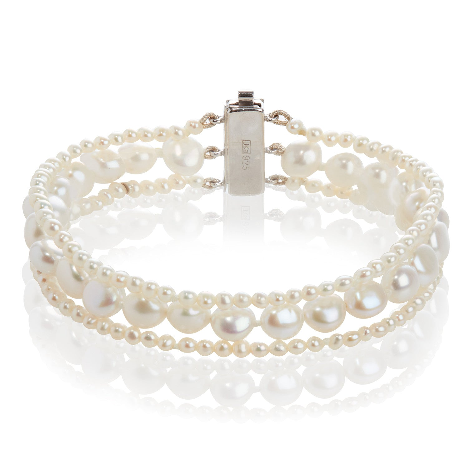 3 Strand Cultured Freshwater White Pearl Mixed Bracelet
