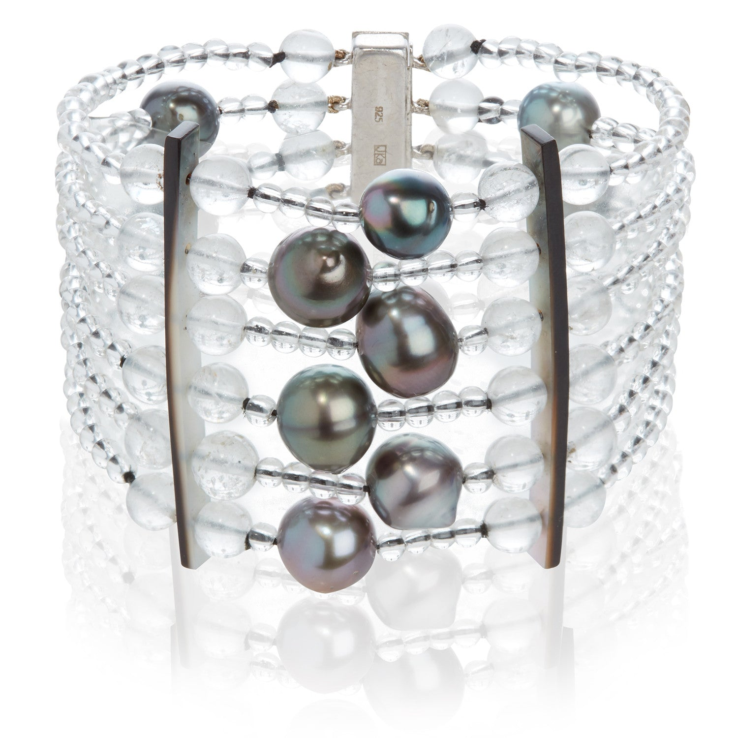 Tahitian Cultured Pearl and Rock Crystal Bracelet