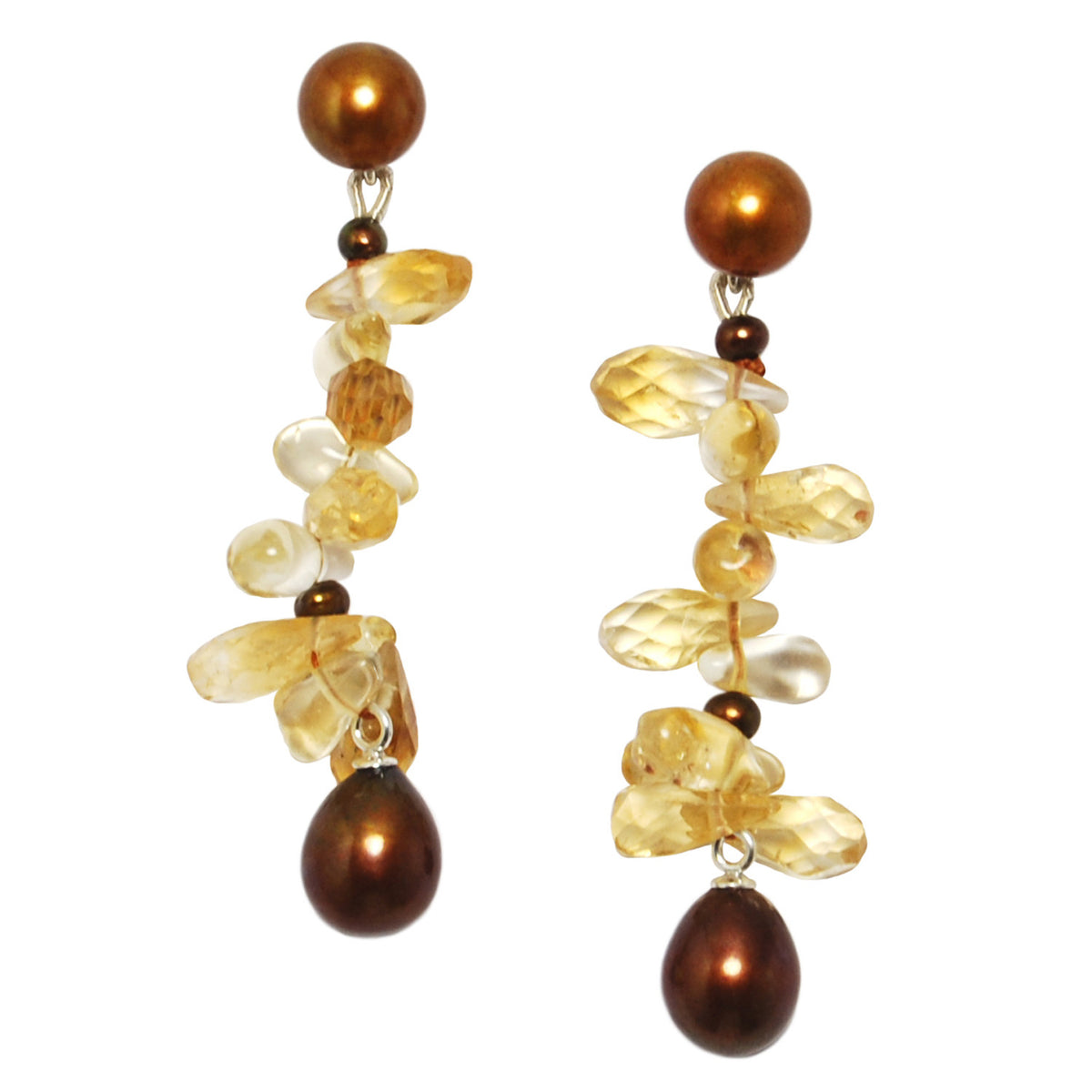 Long 'Twinkling Light' Earrings in Copper and Citrine