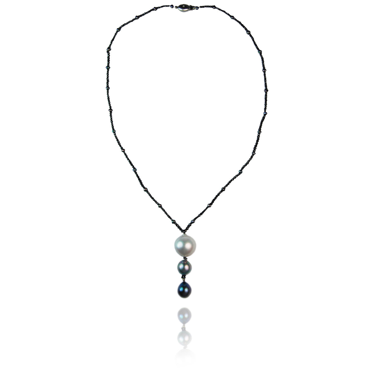 Black Diamond Necklace  With South Sea And Tahitian Pearl Pendant Drop