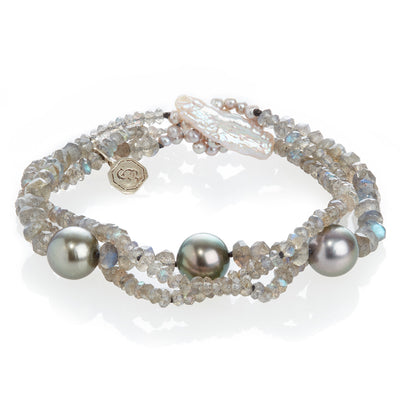 Labradorite and Cultured Tahitian Pearl Spacer Bracelet