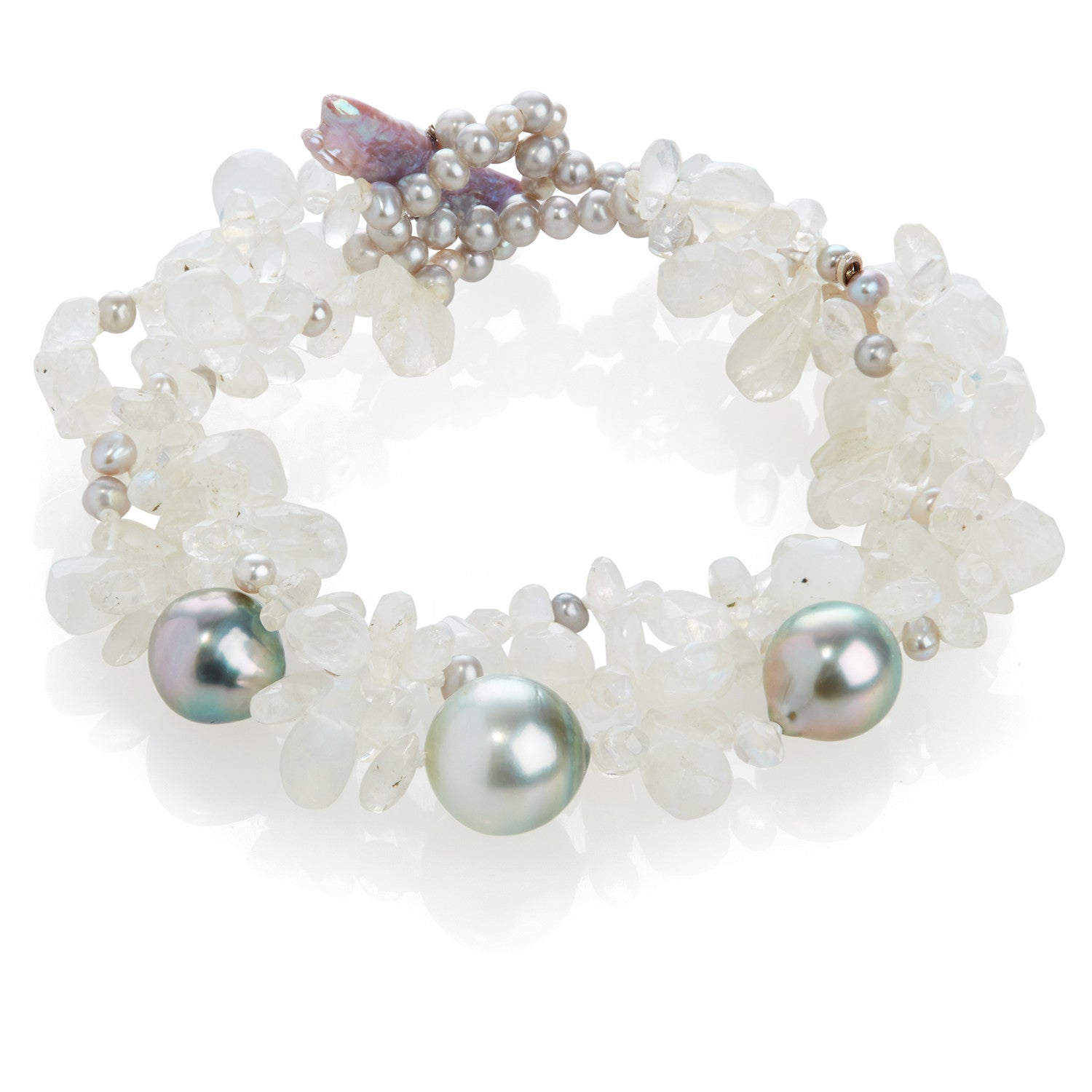 Rainbow Moonstone and Cultured Tahitian Pearl Bracelet