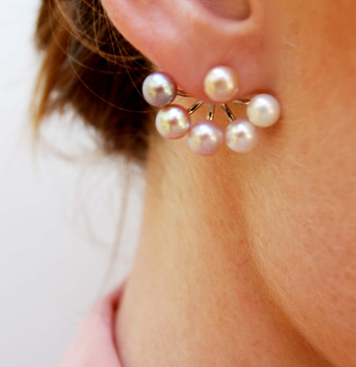 Pink Freshwater Pearl 'Cuff' Earring Jackets