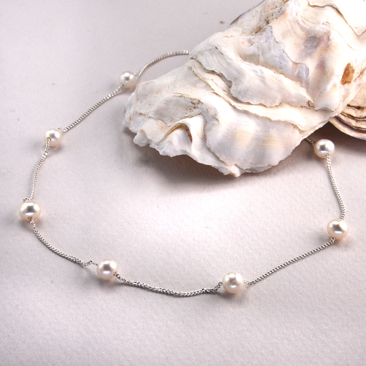 Round Large Freshwater Pearl Spacer Necklace on shimmering Silver Chain