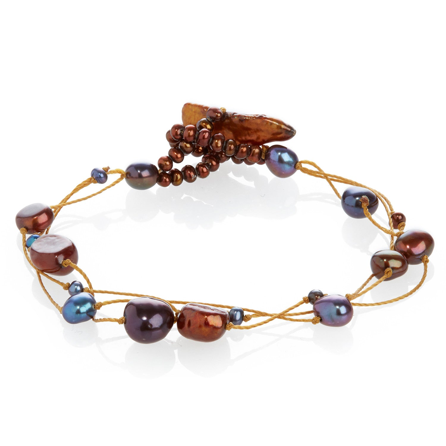Cultured Freshwater Pearl on Copper Silk Bracelet