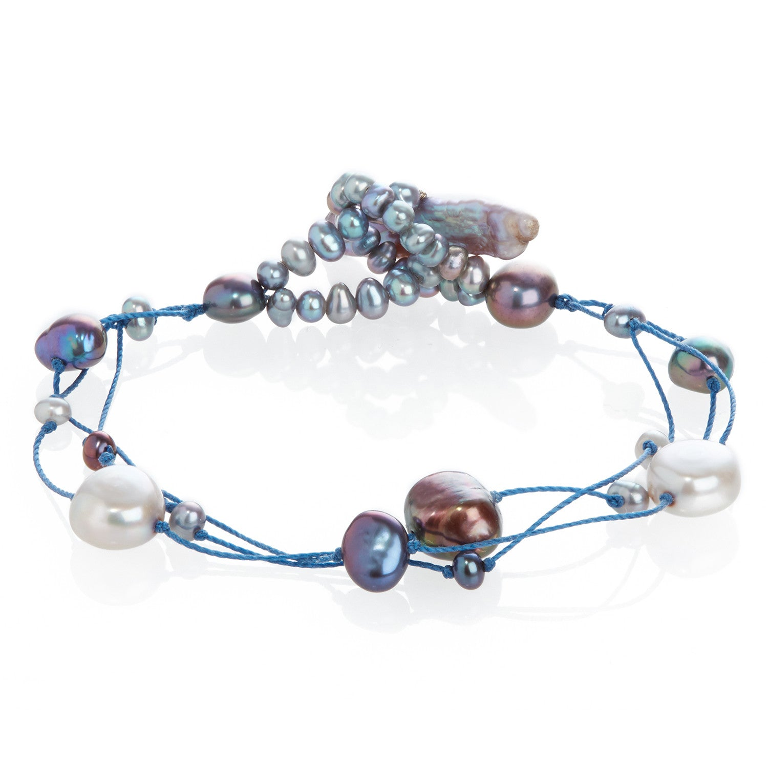 Cultured Freshwater Pearl on Blue Silk Bracelet