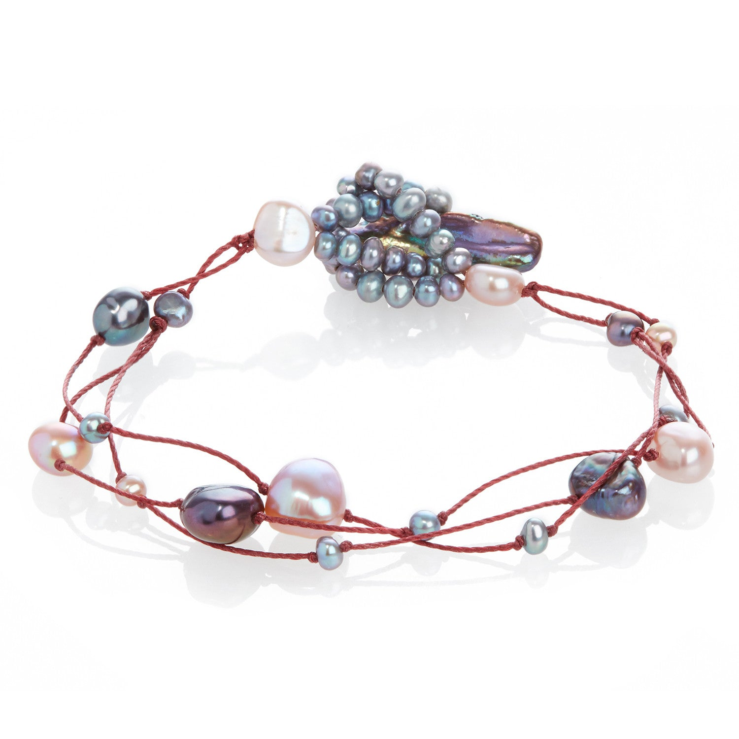 Cultured Freshwater Pearl on Red Silk Bracelet