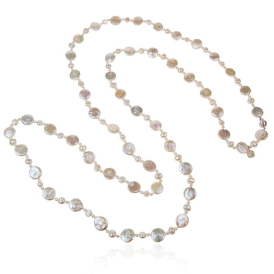 White Freshwater Pearl 'M&M' Long Necklace
