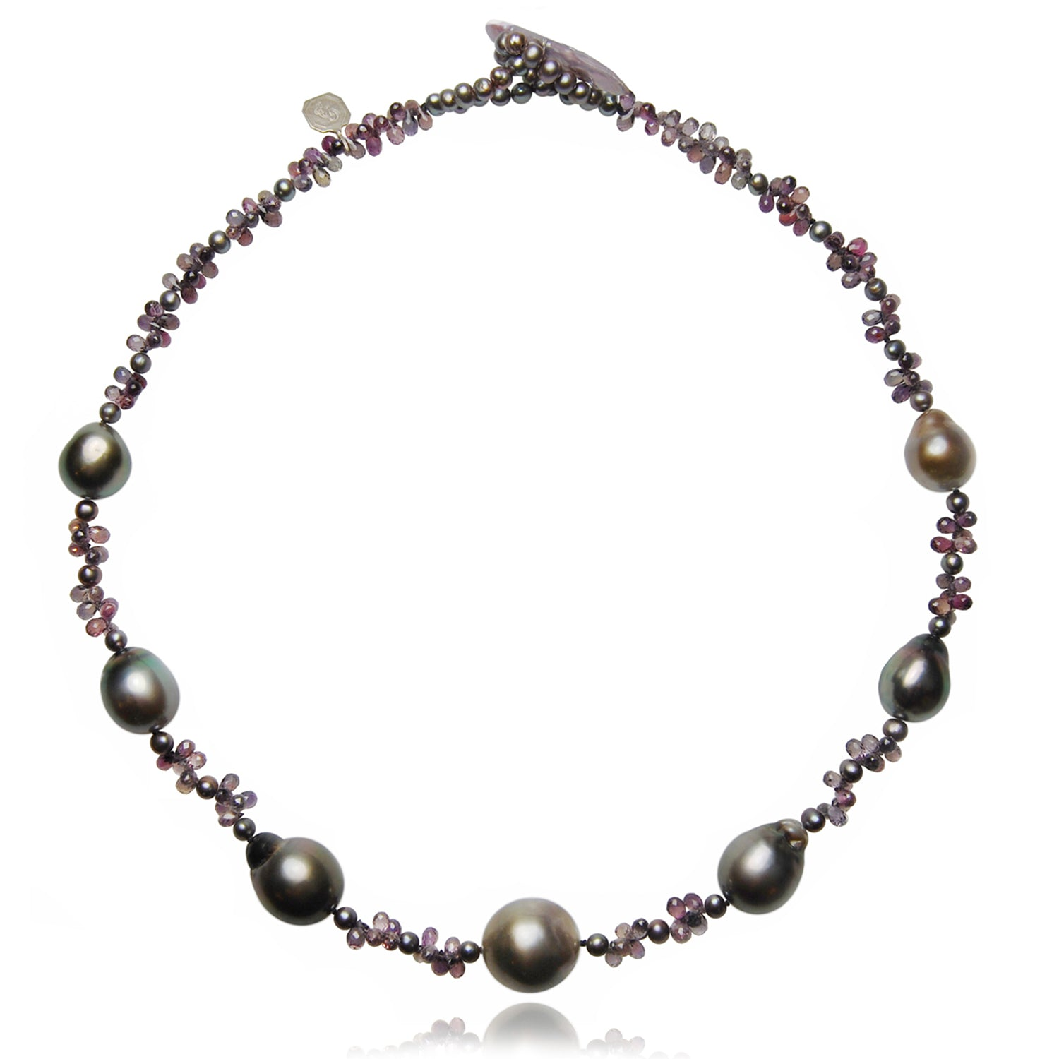 Black Tahitian Pearl & Sapphire Necklace