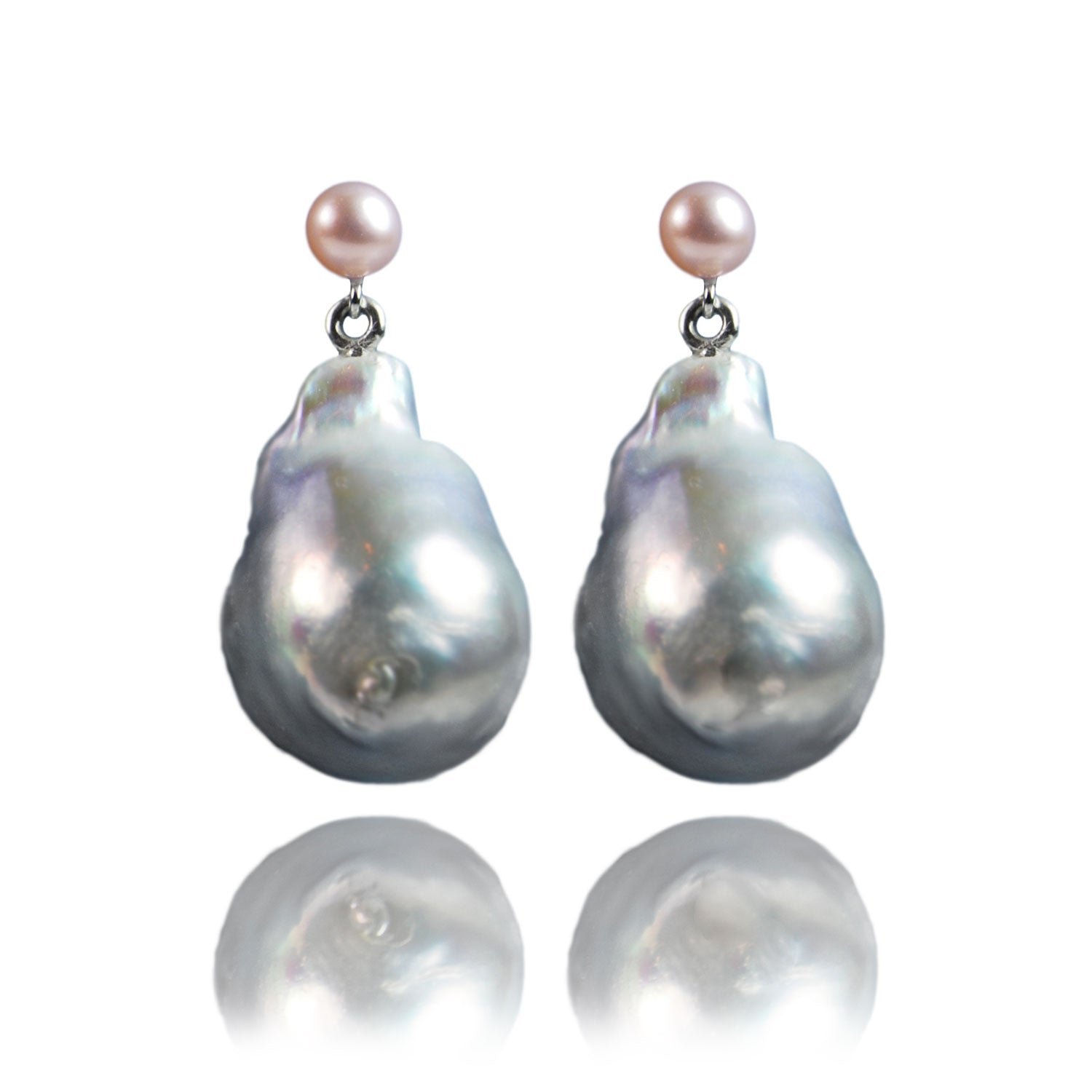 Baroque Shape Large Freshwater Pearl Drop on Petite Pearl Stud