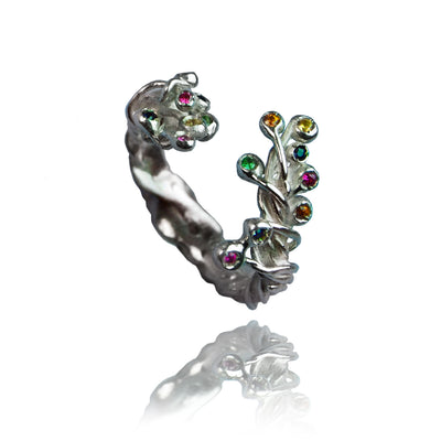 Silver 'Branch' Ring with 16 Sapphires