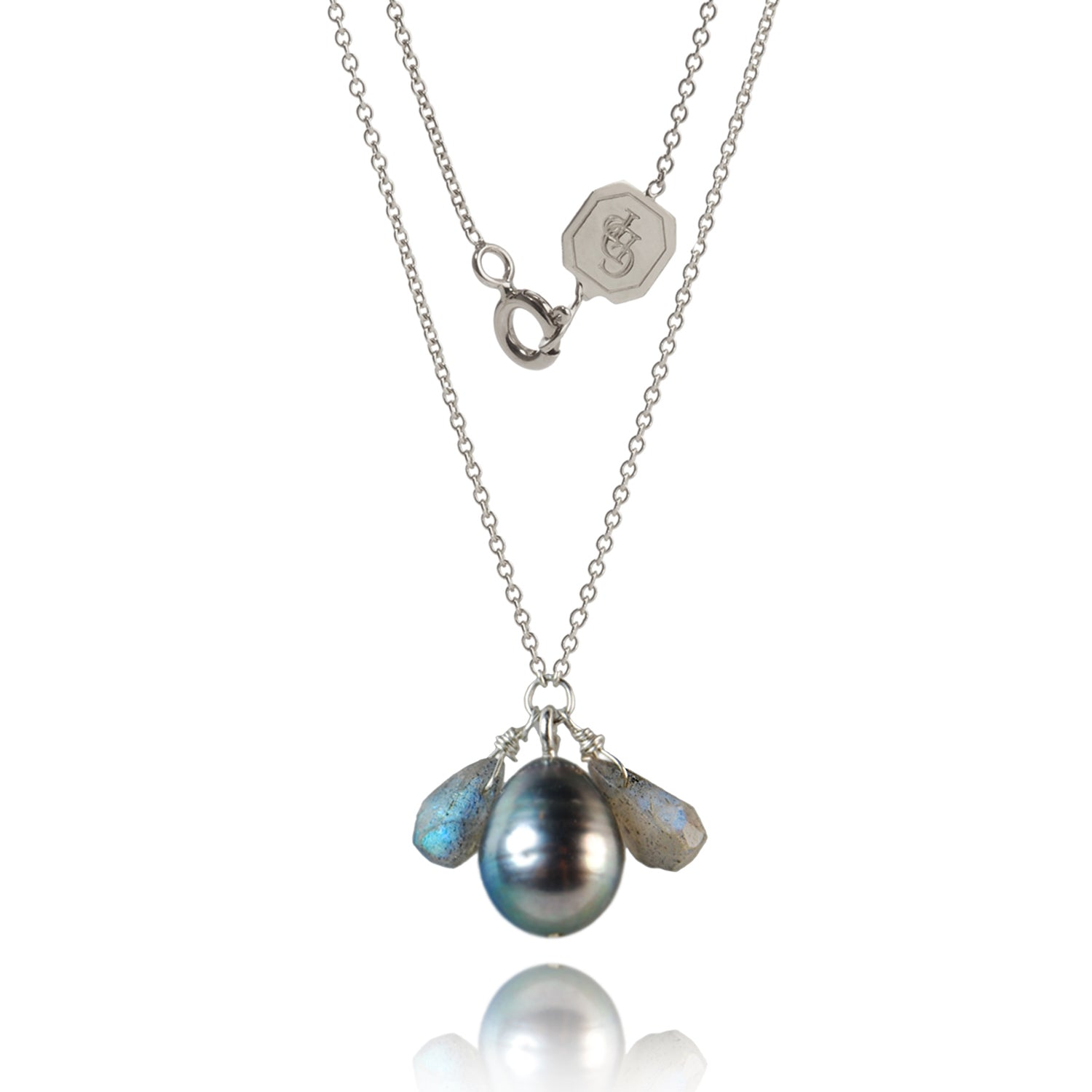 Long Silver Chain With Pearl Drop And Stone Accents