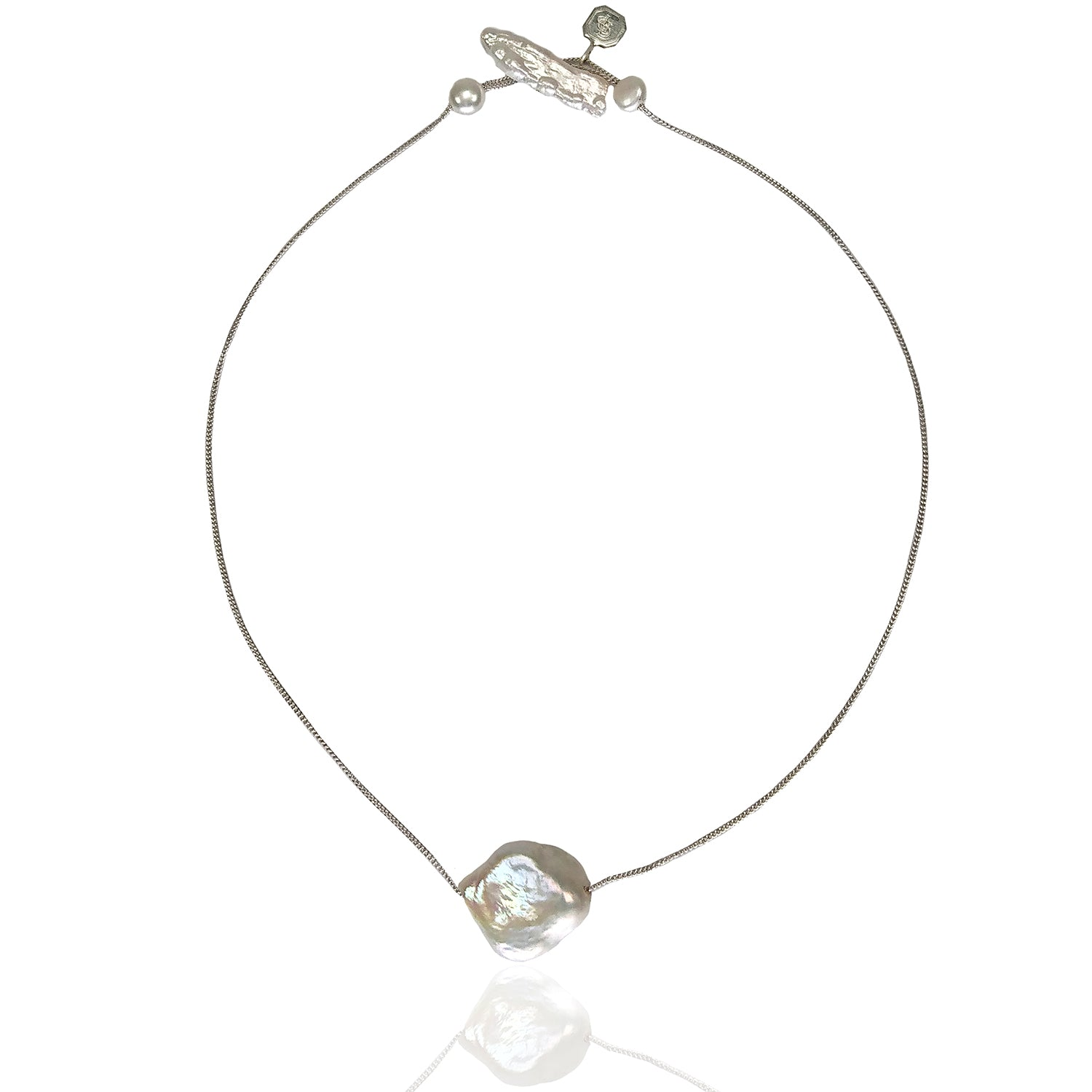Baroque shape single Freshwater Pearl on silver chain necklace