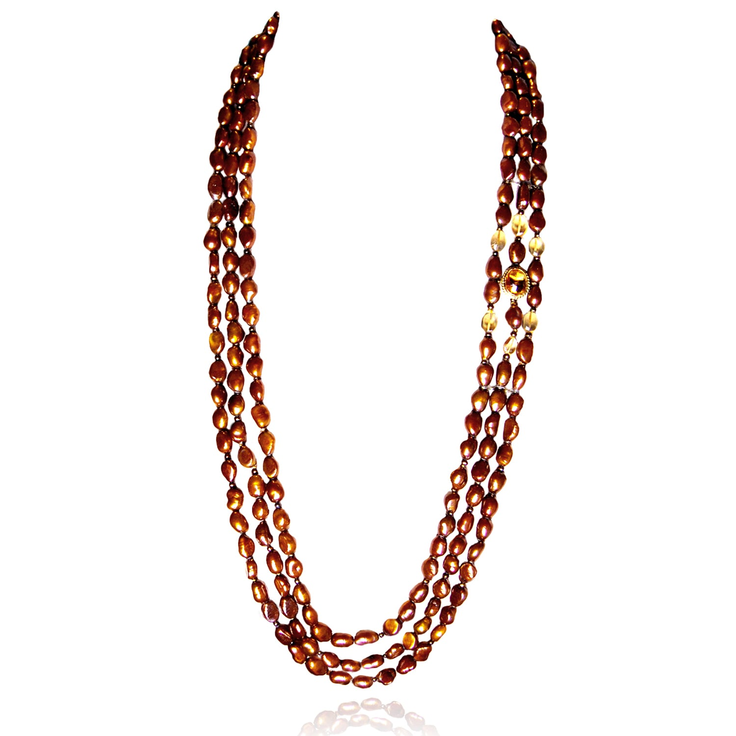 It's a Long Story 3 Strand Necklace With Citrine Statement
