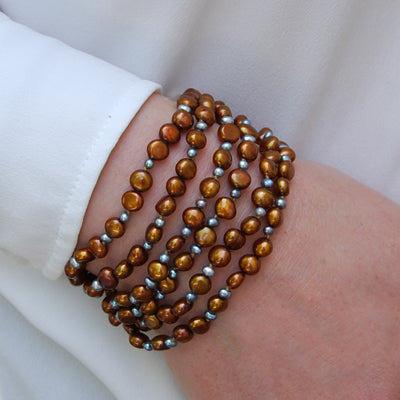 Copper Freshwater Pearl 'It's a Long Story' Cuff Bracelet