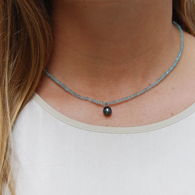 Black Freshwater Pearl & Apatite Drop Necklace