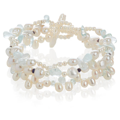 3 Strand Freshwater Pearl and Semi-Precious Stone Bracelet