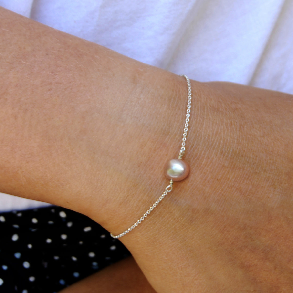 Pink Freshwater Pearl 'Simple' Chain Bracelet