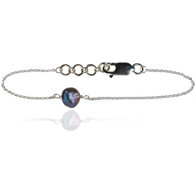Joyful Peacock Black Pearl Sterling Silver Chain Bracelet