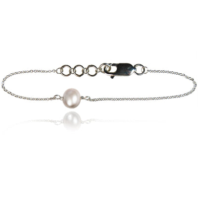 Joyful White Pearl Sterling Silver Chain Bracelet