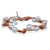 White Freshwater Pearl & Tan Leather 'Warrior' Bracelet