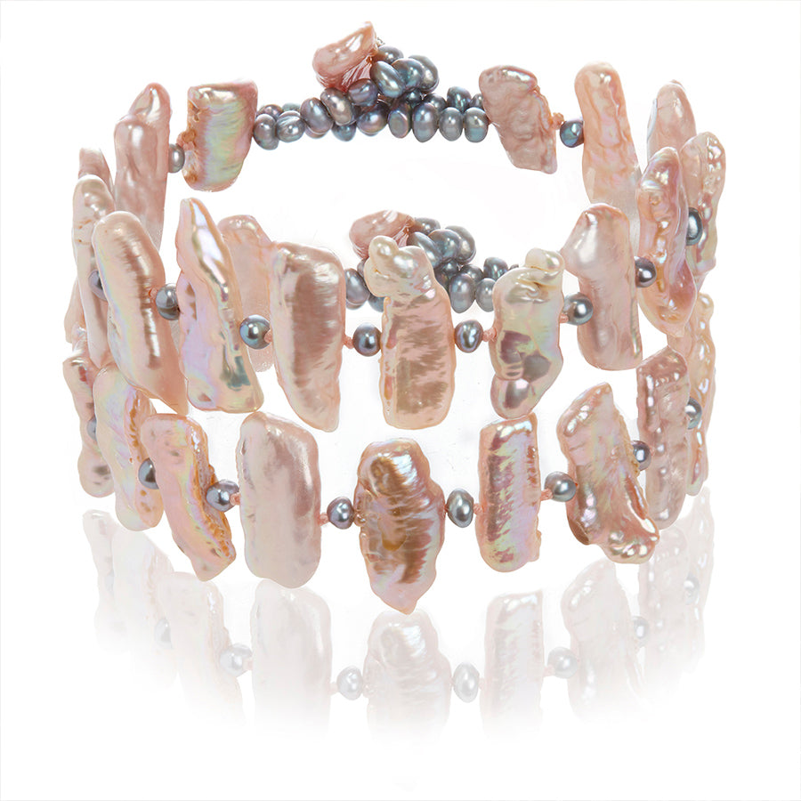 Double Strand Pink Cultured Freshwater Biwa Pearl Bracelet