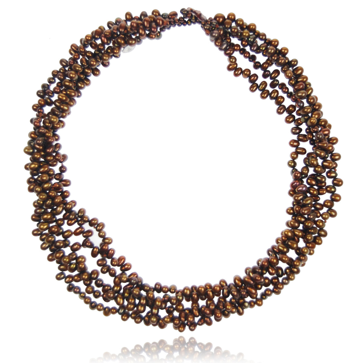 Copper Freshwater Pearl 5 Strand Necklace