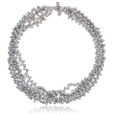 Grey Freshwater Pearl 5 Strand Necklace