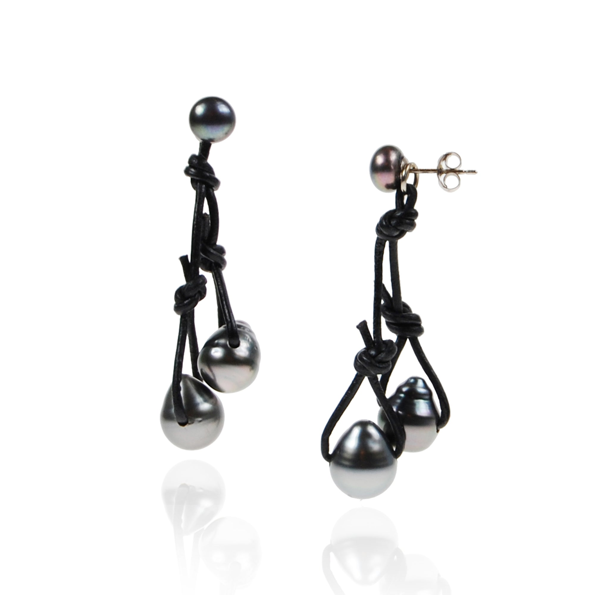 Black Tahitian Pearl 'Warrior' Earrings