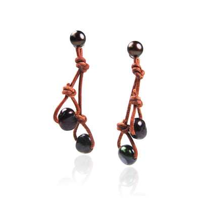 Black Freshwater Pearl & Tan 'Warrior' Earrings