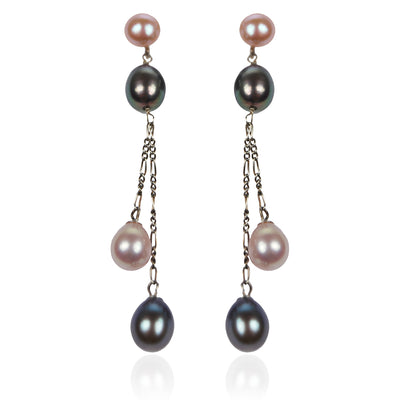 Pink & Black Freshwater Pearl Long Double Drop Earrings