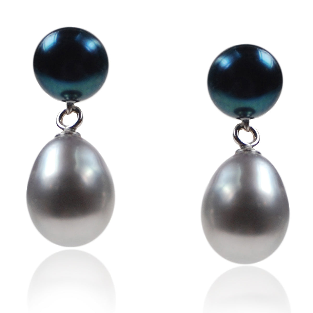 Black & Grey Freshwater Pearl Mini Silver Drop Earrings