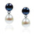 Black & White Freshwater Pearl Mini Silver Drop Earrings