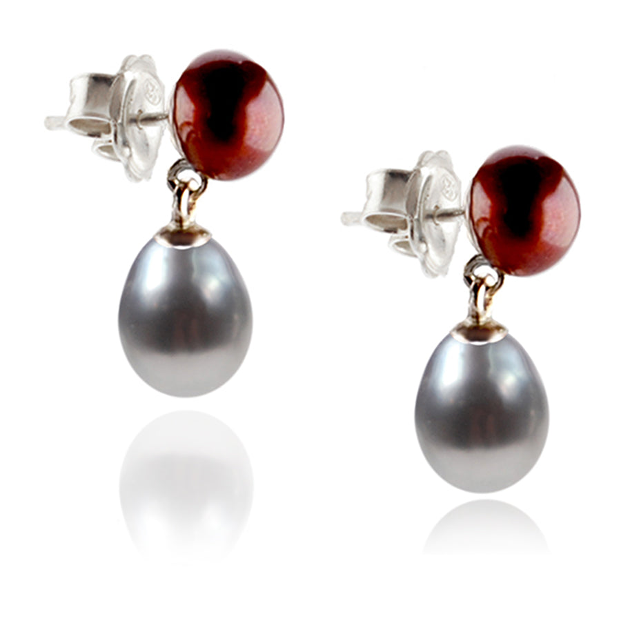 Copper & Grey Freshwater Pearl Mini Silver Drop Earrings