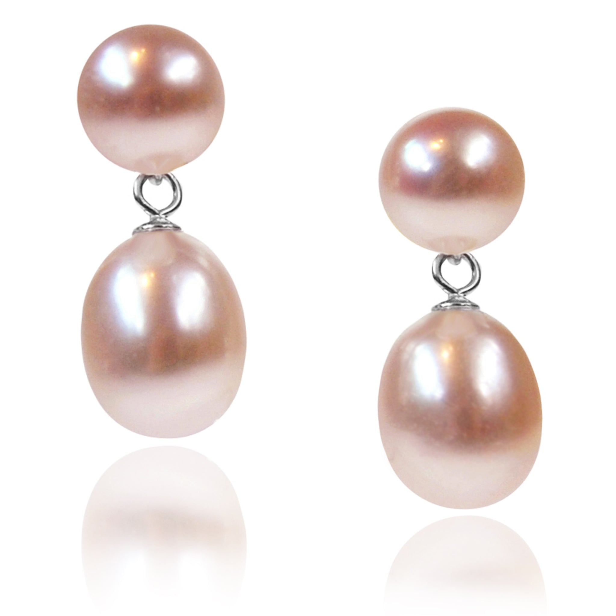 Pink Freshwater Pearl Mini Silver Drop Earrings