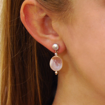 Pink Freshwater Pearl 'M&M' Drop Earring
