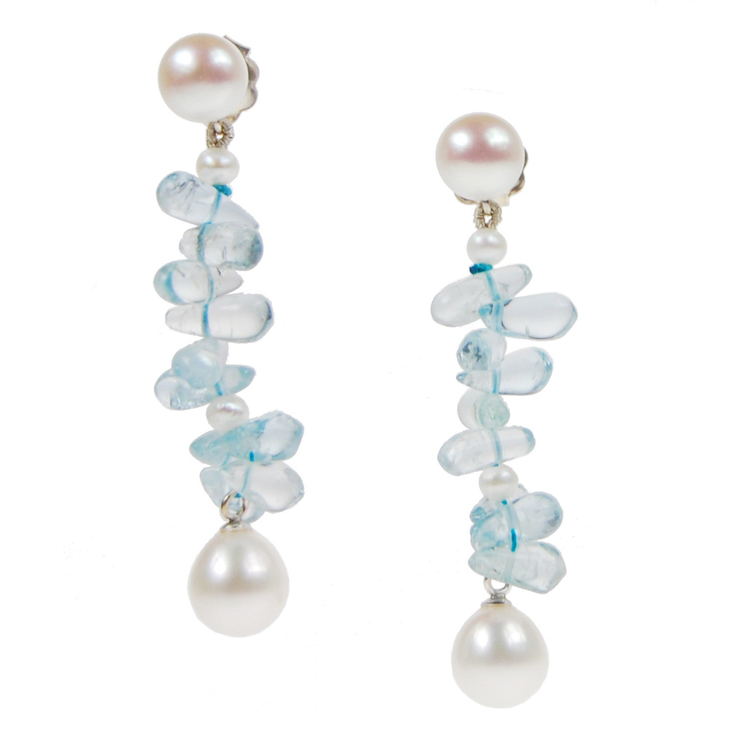 Long 'Twinkling Light' Earrings in White and Aquamarine