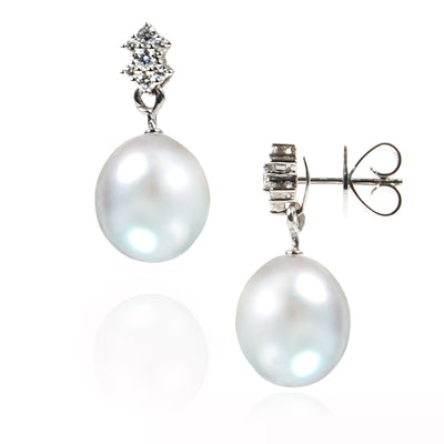 White South Sea Pearl & Diamond 'Tsarina' Stud Earrings