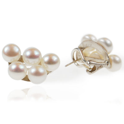 White Freshwater Pearl 'Cuff' Earrings