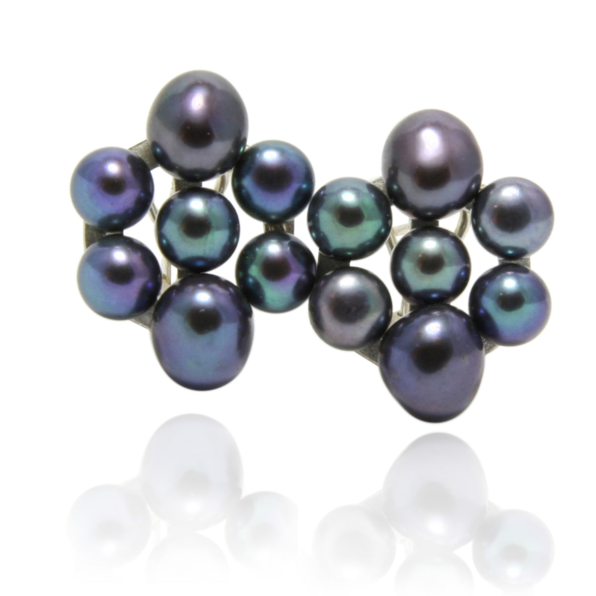 Black Freshwater Pearl 'Oval-Cuff' Earrings