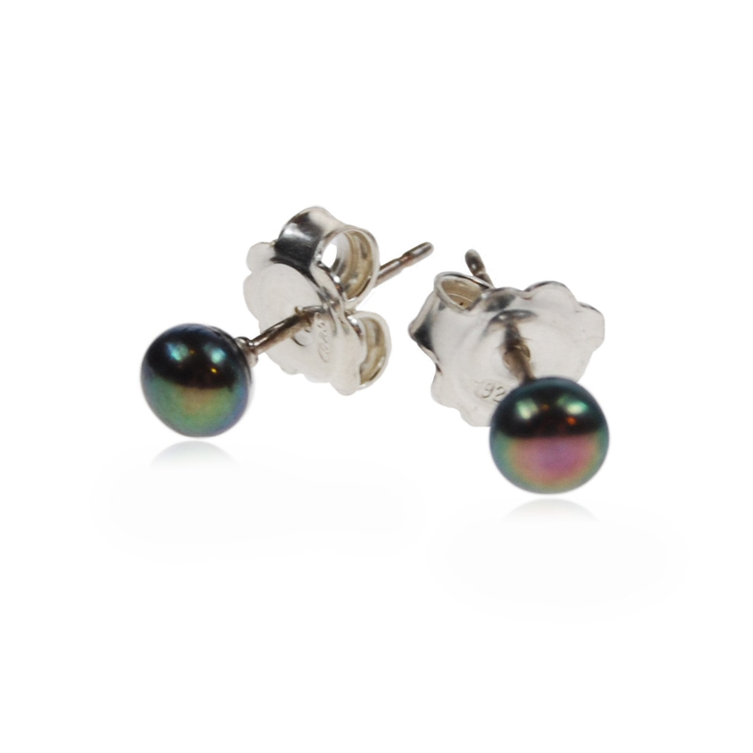Petite Freshwater Pearl Studs on Silver Posts in Peacock Black