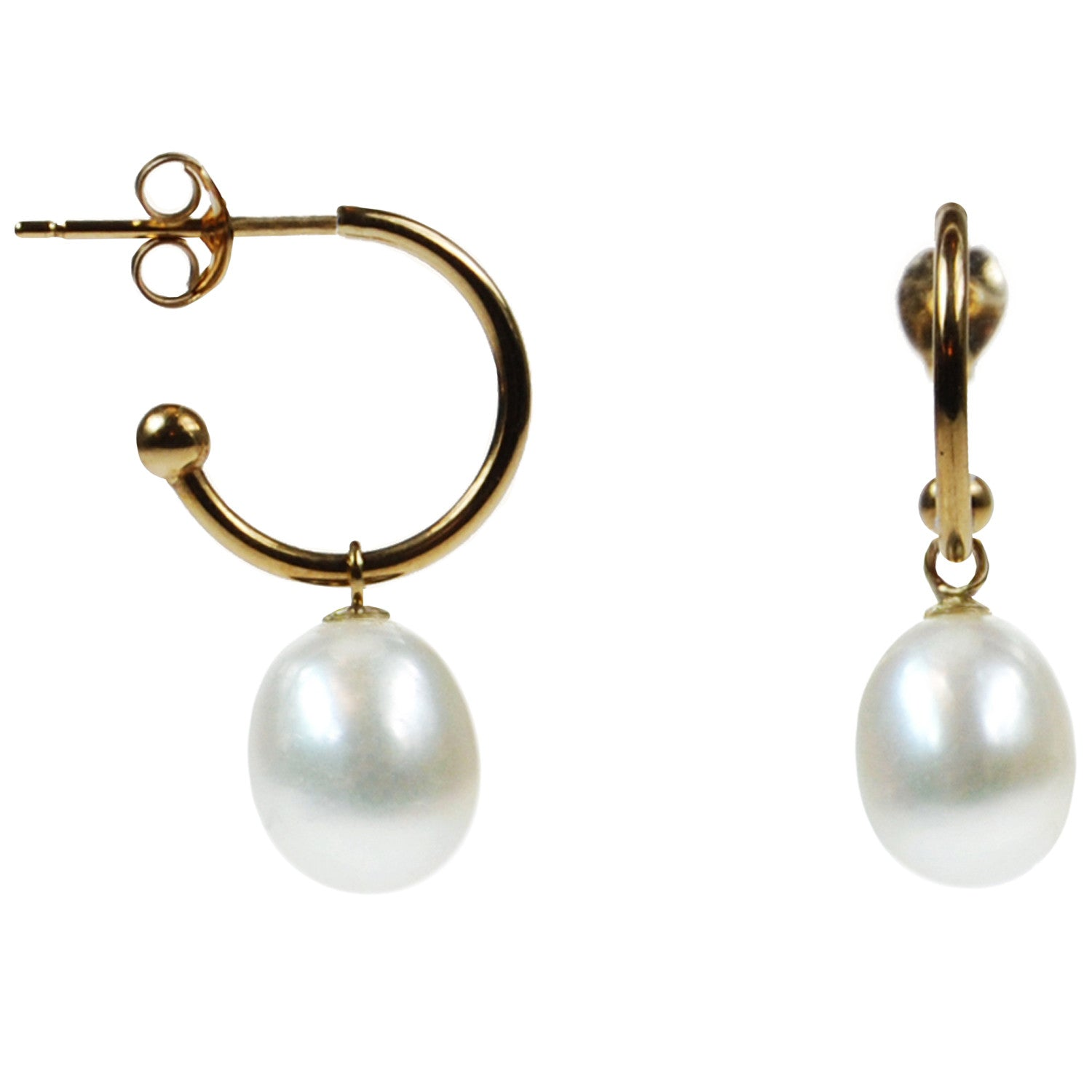 Freshwater Pearl Drop Earrings on 18ct Gold Open Hoops in White