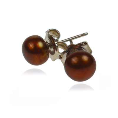 Freshwater Pearl Studs on Silver Posts in Copper