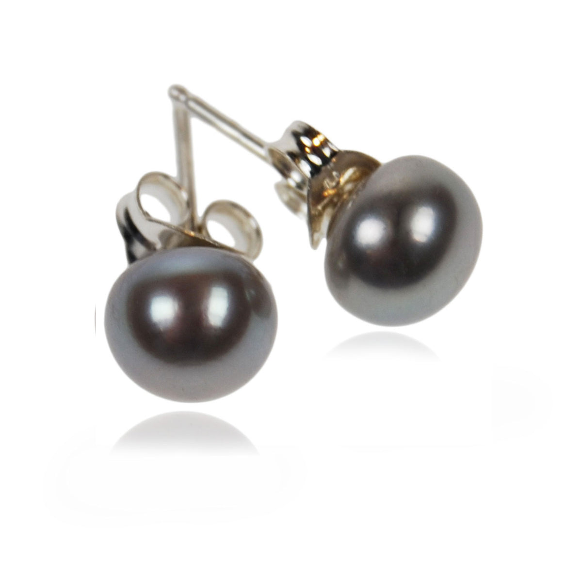Freshwater Pearl Studs on Silver Posts in Grey