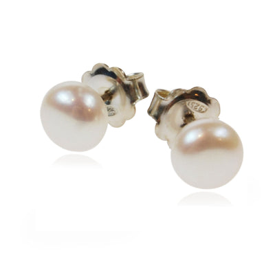Freshwater Pearl Studs on Silver Posts in White